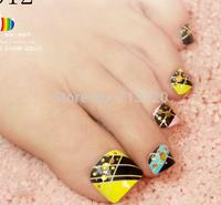 44pieces/Sheet New Style Feet Nails Art Fingertip Decoration Beauty Sticker Free Shipping Tips Fake False Feet Nail