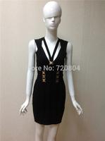 Women's Black with metal buttons deep V neck party dress Bandage Dress HL 2014 New arrival   Evening Dresses HL