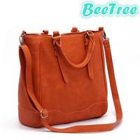 Pink orange high quality women pu leather handbag messenger crossbody women bag