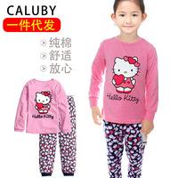 2014 Real Rushed Broadcloth Raglan Sleeve Kids Distribution Shipping Tracksuit Girls Cotton Pajamas Cartoon Korean Wave