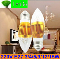10PCS/LOT 3W 4w 5w 9w 12w 15w E27 base High Power Candle Light led bulb lamps 220V LED Lamps 6color for choice Gold Case LC2LC11