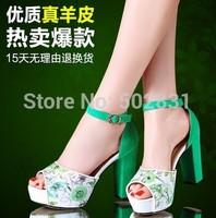Genuine leather ultra high heels platform sandals open toe shoe female 2014 paillette sandals  S611