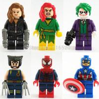 Wolverine Phoenix Black Widow Joker Spider Man American Captain Figures 6pcs/lot Building Block Sets Model Toys Decool 0148-0152