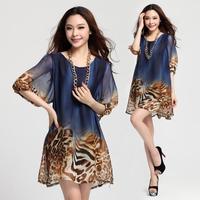 2014 spring women's lantern sleeve loose leopard print chiffon plus size one-piece summer dress 858