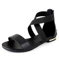 Ladies Roman style ankle strap Flat sandals Women's genuine leather open-toed sandals comfortable flat flip-flop female sandals