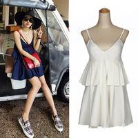 Free Shipping 2014 Female Summer Autumn Cotton V-neck Sexy Fashion Casual Spaghetti Strap Tank Evening Dress For women