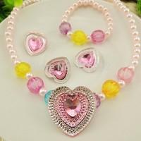 2014 fashion doublecolor rhinestone heart plastic children&girls jewelry set with pink bead chain children accessories XLL307