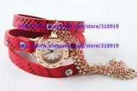 Hot popular punk leather watch fashion Hawaiian Style Sparkling Rhinestone women ladies diamond quartz chain rose gold watches
