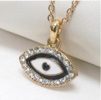 new fashion black enamel crystal god eye pendant necklace with gold chain,20pcs a lot