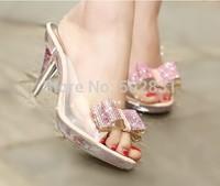 fashion high-heeled slippers rhinestone bow open toe shoe crystal with thin heels female high-heeled slippers  S617