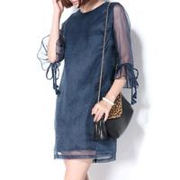 2014 fashion navy blue one-piece dress silk one-piece dress organza ruffle sleeve female loose fashion