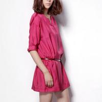 2014 short-sleeve silk dress one-piece dress rose one-piece dress female loose short