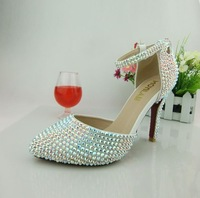 Champagne color crystal wedding shoes fashion rhinestone lace platform thin heels wedding bridal shoes handmade bag  S619