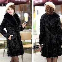 2014 New Autumn And Winter Plus Size 4XL Women Medium-long Artificial Mink Fur Coat Fox Fur Outerwear Coats