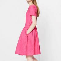 2014 fashion fashion slim all-match rose short-sleeve dress Light gray pure fluid female OL outfit