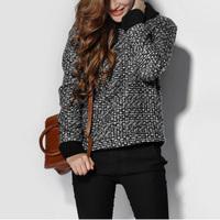 Winter turtleneck long-sleeve plaid woolen outerwear women's zipper pocket