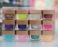 12 Mixed Color 8ml UV Color Glitter Powder Gel UV Gel Builder Nail Art Kit Set