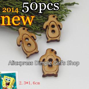 50pcs/lot Bulk New 2014 Sewing Supplies Children Garment Accessories Kids Clothing Decor Novelty Item Penguin Wooden Button Cute(China (Mainland))