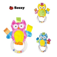 3 pcs/lot Sozzy baby rattle colorful plush toy bird - Pink / Blue / Yellow Owl
