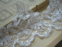 15yard 11cm Pearl Beaded Lace Trim Seauined Bridal Veil Trim Embroidery Applique Lace Wedding Dress Accessories 2014 AC0224