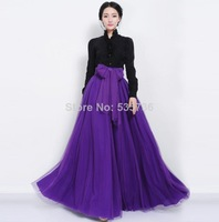 New 2014 Summer Women Fashion High Tied Waist Bow Decoration Runway Style Lady Floor Length Ball Gown Beach Party Long Skirt 831