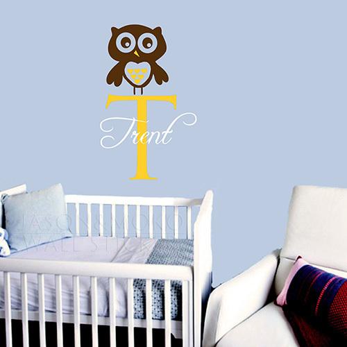 Nursery Owl Wall Decal Name Baby Vinyl Wall Sticker Decor Children's Room or Baby Nursery Vinyl Sticker 45*70CM Free shipping(China (Mainland))