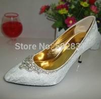 Wedding shoes lace rhinestone pointed toe thin heels handmade senior gift wedding dress bride and bridesmaids luxury  S618