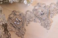 15yard 12cm Beaded Lace Trim Gold Sequin Trim Bridal Veil Trim Embroidery Applique Lace Wedding Dress Accessories AC0225