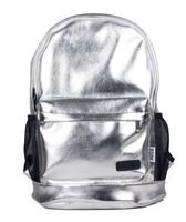 2014 student backpack high quality PU leather shoulder bag student school bag light design for travelling fashion sliver gold