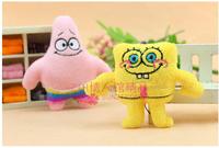 Special 10pcs 10cm small cute Spongebob Patrick Star plush phone pendant bag chain accessories stuffed toy prize gift wholesale