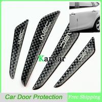New Arrival 1Set Fashion Black Carbon Fiber Car Door Protective Stickers, Car Door Side Edge Molding Protection Board