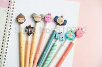 Free Shipping 5PCS/LOT Korea Stationery Cute Cartoon Animal Style Ball Pen