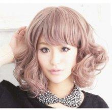 Cool2day New Kanekalon Short BOB Style Wavy Heat Resistant Kanekalon Hair Wig Pink JF011052(China (Mainland))
