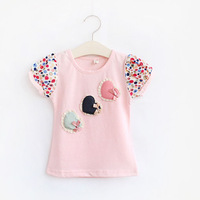 Free shipping ! Summer 2 colors Fashion Popular  Cute Sweet Dot Heart Love  Bow Short sleeve  T-shirt  for girls 2014