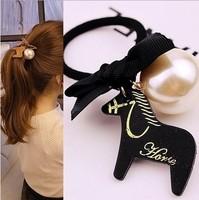 2014 Hot Sale Fashion Free shipping 12pcs/lot korea hot horse big pearl hair ties for girls