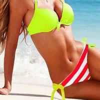 Free shipping Yello striped rainbow striped Bikini colorfull Swimwear women swimsuit Bikinis VS Strappy Sexy Women beachwear