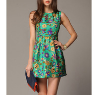 2014 fashion sleeveless flower patterns graphic one-piece dress slim tank dress green silk basic female