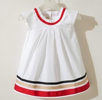 HOT! fashion girls WHITE and pink  cotton dress  5pcs lot for 2-7 years children girl (80-120CM baby) free shipping