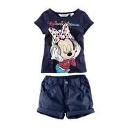 New Fashion Brand Girls Clothing Sets Minnie Mouse T shirt+shorts Dark Blue kids Summer Clothing Baby Fashion Set Free Shippig