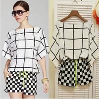 new 2014 summer women plus size blouse + shorts  blusas femininas women clothing set Black and white plaid chiffon casual suit