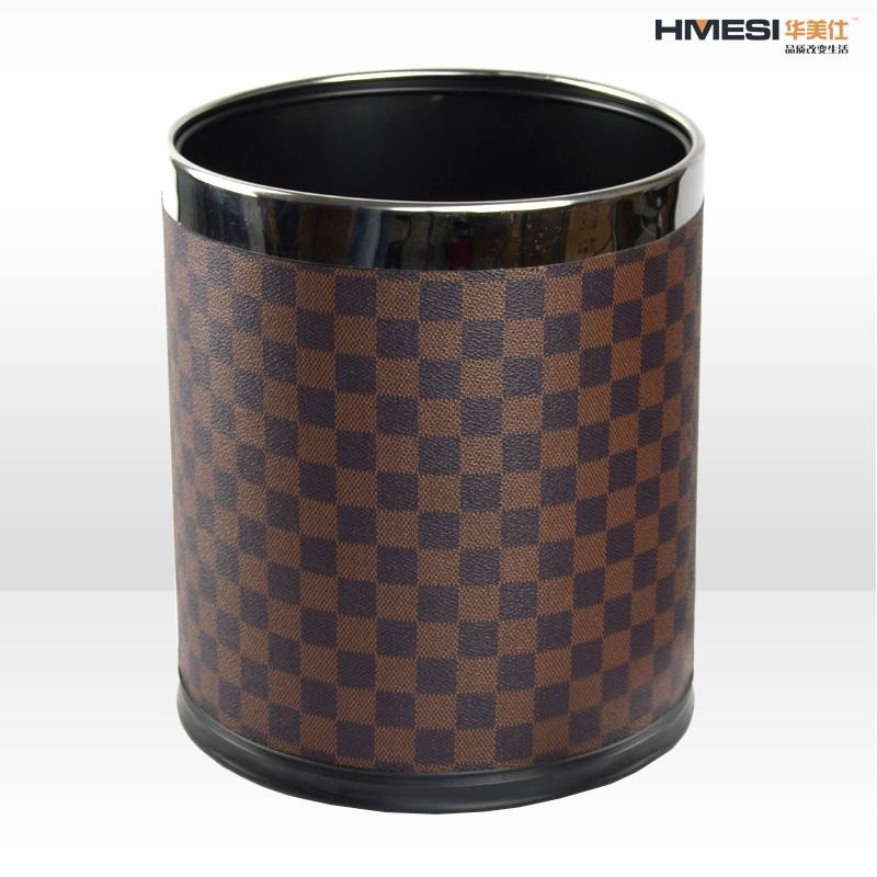 Huamei Shi creative fashion LV leather double stainless steel storage bins trash barrel Office(China (Mainland))