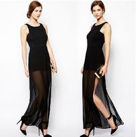 PerfectShow Hot New Sexy Elegant Black Minimalist Knit Chiffon Perspective Left Slit Long Maxi Sleeveless Dress