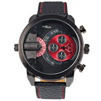 Free shipping Oulm Multi-function Military Watch with Leather Band