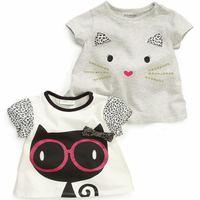 2014 girls boys cat t-shirt Summer cartoon baby 100% print short-sleeve cotton undershirt
