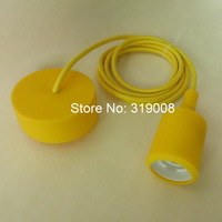 In stock E27 silicone pendant light  with textile cable 2 meters( 6.5feet) long 5pcs/lot via dhl free shipping.