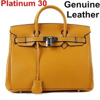 Genuine leather Luxury women's handbag Lychee 30 Golden Silver Lock cowhide platinum Lock handbag 30cm litchi Brand 2014 Bag