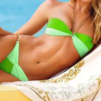2014 Sexy Lightly Padded swimwear Gold tone Halter strape Low rise bottom Chain Link Bandeau top Bikini bottom