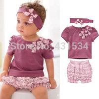 Retail New Hot Selling 100% Cotton Baby Girls Clothing Set 3pcs:headband+shirt+pant Purple Princess Summer Clothes Three Pieces