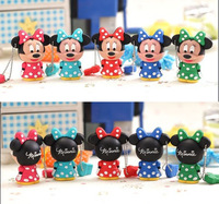 2015 New Wholesale Cute Cartoon Mickey model 1GB - 32GB Enough 2.0 USB disk Flash memory stick Necklace Toys Gift