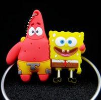 New Cute Cartoon SpongeBob Model Plastic 64GB 128GB 256GB 2.0 usb memory flash stick pen drive1GB 4GB 8GB 16GB 32GB Boy Gift